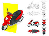 Trendy electric scooter, isolated on white background. Isolated Motorbike template for moped, motorbike branding and advertising