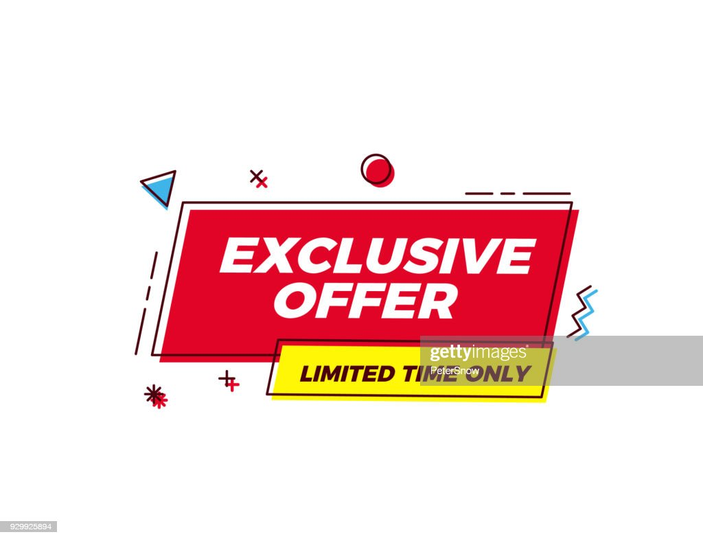 Trendy Exclusive offer geometric vector banner. Limited Time Only Tag with in modern retro pop comic style. Bright colors and trendy shapes for promo marketing