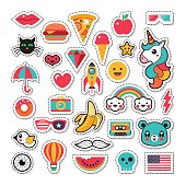 Trendy fashion chic patches, pins, badges and stickers design set