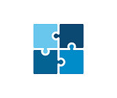 Trendy flat corporate blue puzzle icon. Vector illustration of four puzzle matching pieces for concepts of games, toys, business and start up strategies and solutions