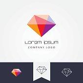trendy flat design facet crystal gem shape design element