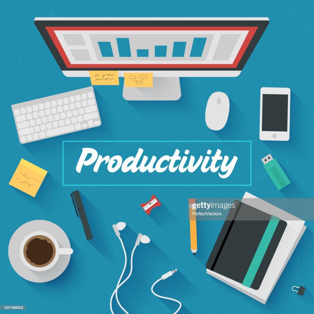 Trendy Flat Design Illustration: Productivity
