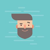 Trendy flat hipster character portrait