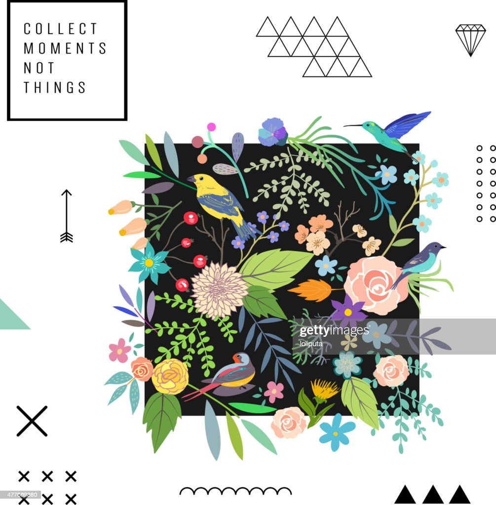 Trendy floral pattern. Vector. Isolated