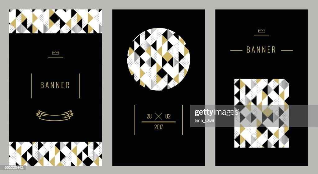 Trendy geometric cards with abstract seamless pattern.