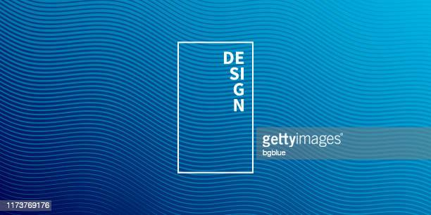 trendy geometric design - blue abstract background - wave pattern stock illustrations