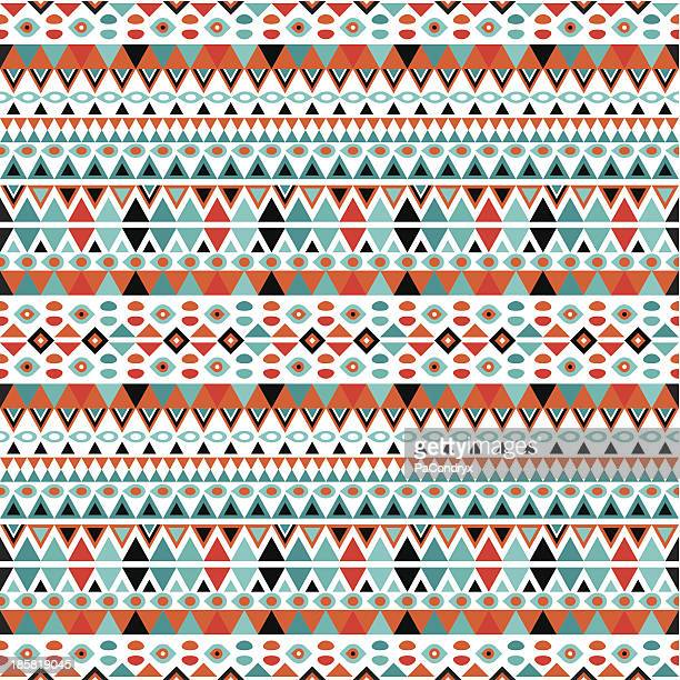 trendy geometric retro pattern - aztec stock illustrations
