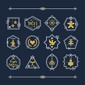Trendy golden and white line Christmas emblems and motifs set on navy blue background