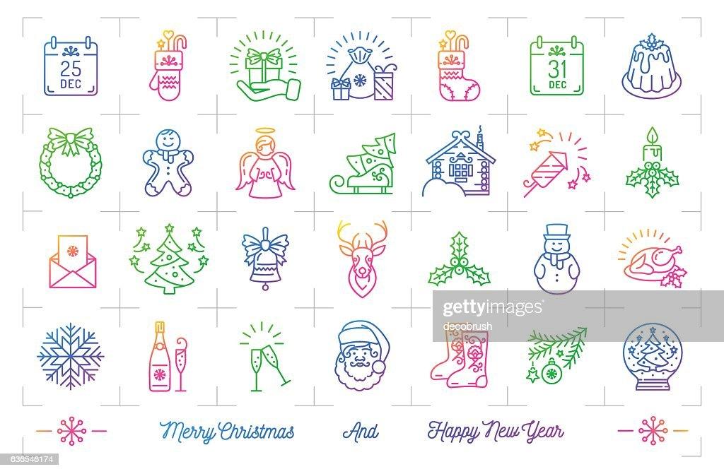 Trendy gradient Christmas icons set, Winter holiday thin line logo