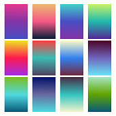 Trendy gradient swatches. Collection palettes of gradient swatches. Set of multicolored gradients. Vector Illustration.