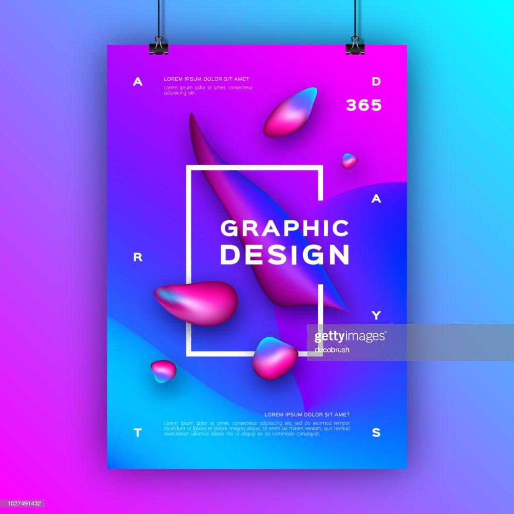 Trendy graphic design poster. Liquid shapes, Gradient fluid shapes composition. Geometric gradient background. Vector illustration