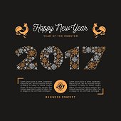 Trendy Happy New Year card 2017 numbers, snowflakes, Art Deco