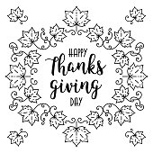 Trendy Happy Thanksgiving Day card, Autumn frame, lettering, Maple leaves. Vector illustration