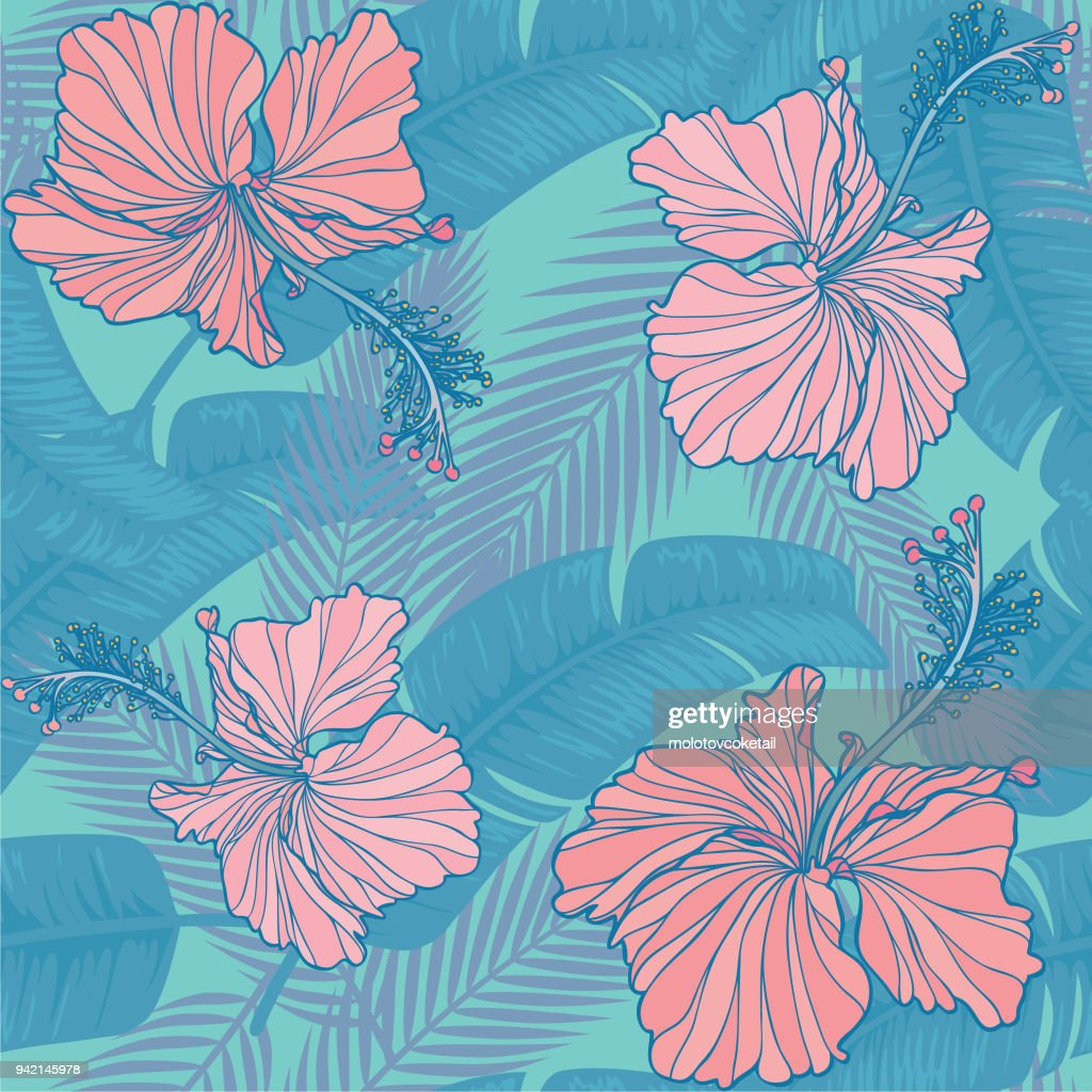 trendy hibiscus & leaf seamless pattern