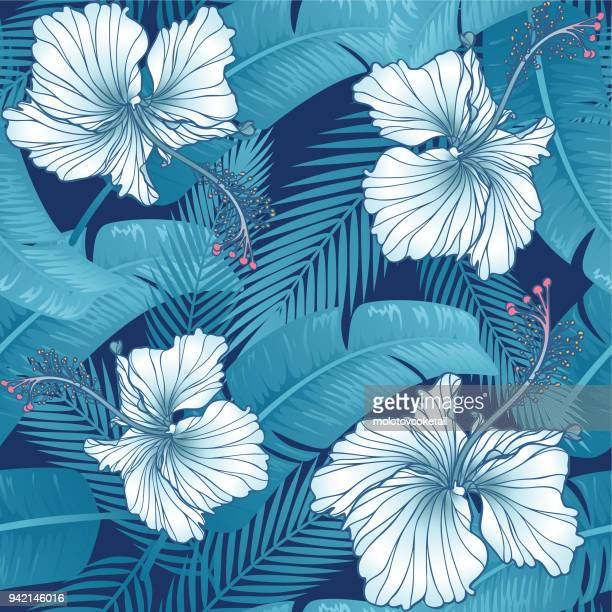 trendy hibiscus & leaf seamless pattern - tropical climate stock illustrations