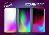 Trendy Holographic Wallpaper Collection. Colorful Neon Background on Device Display. Set of Blurred Vibrant Wallpapers. Vector Abstract Patterns. Futuristic Fluid in Motion.