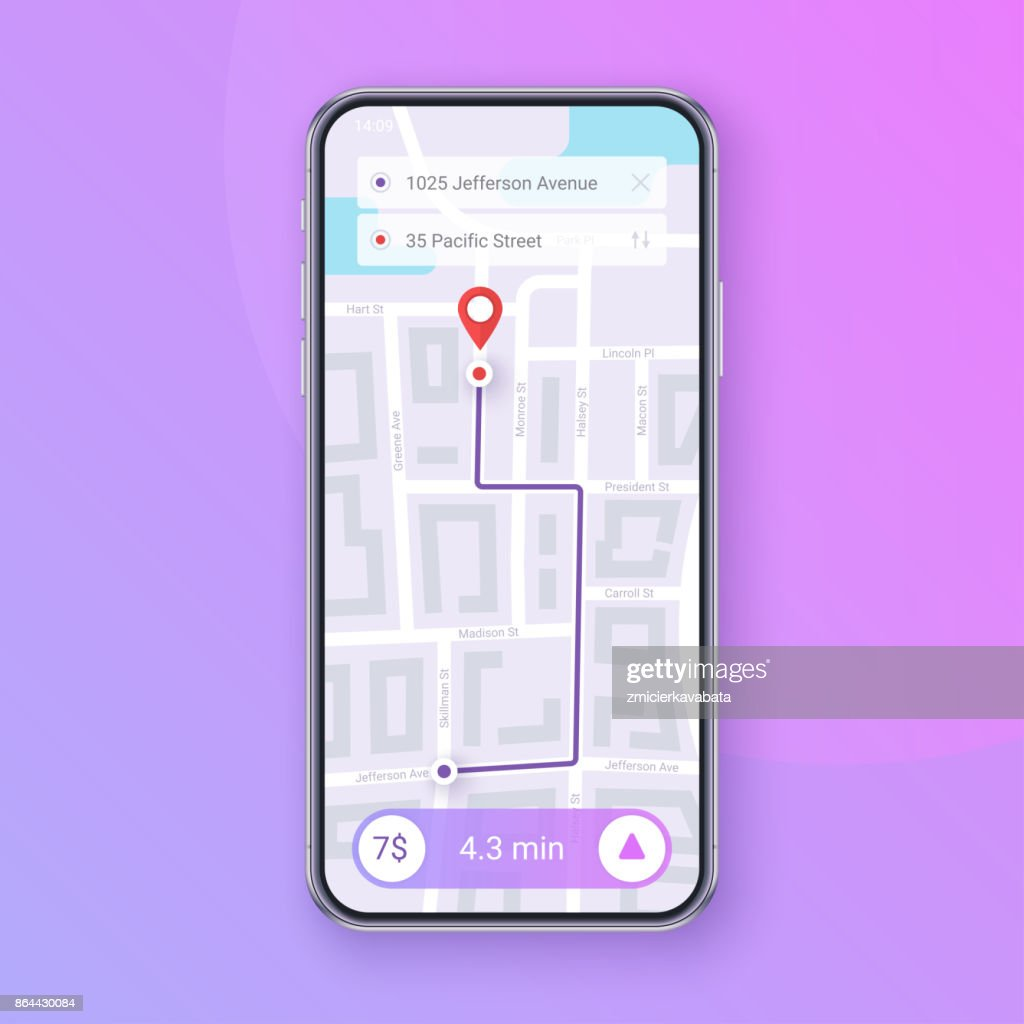 Trendy Infographic of city Map Navigation. Mobile App Interface concept design