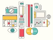 Trendy lifestyle office object icons