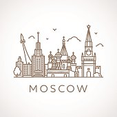 Trendy line-art illustration of Moscow.