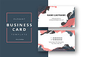 Trendy minimal abstract business card template. Modern corporate stationery id layout with artistic brush strokes. Vector fashion background design with information sample name text.