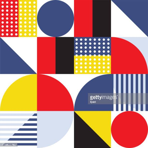 trendy minimal swiss style vector pattern design - symmetry stock illustrations