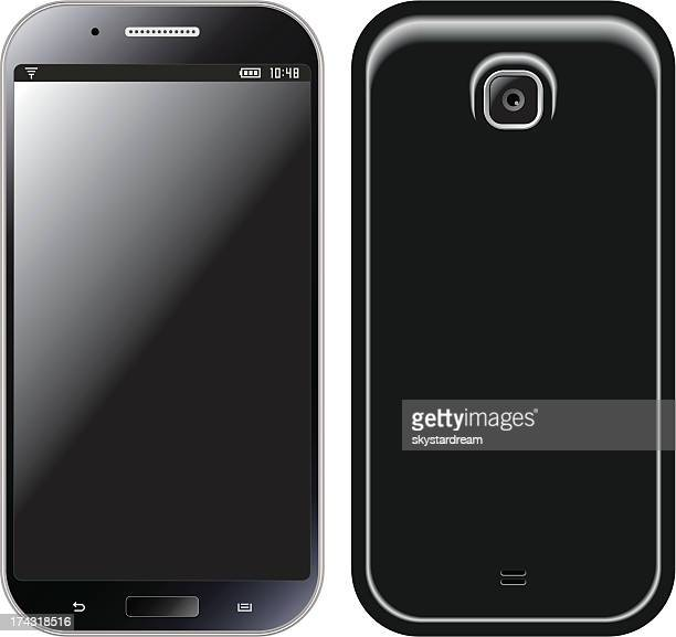 trendy mobile phone front & back side - blank screen stock illustrations, clip art, cartoons, & icons