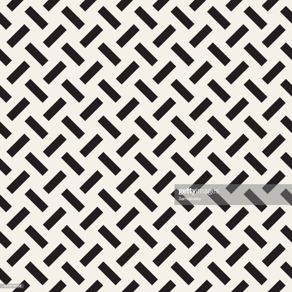 Trendy monochrome twill weave. Vector Seamless Black and White Pattern.