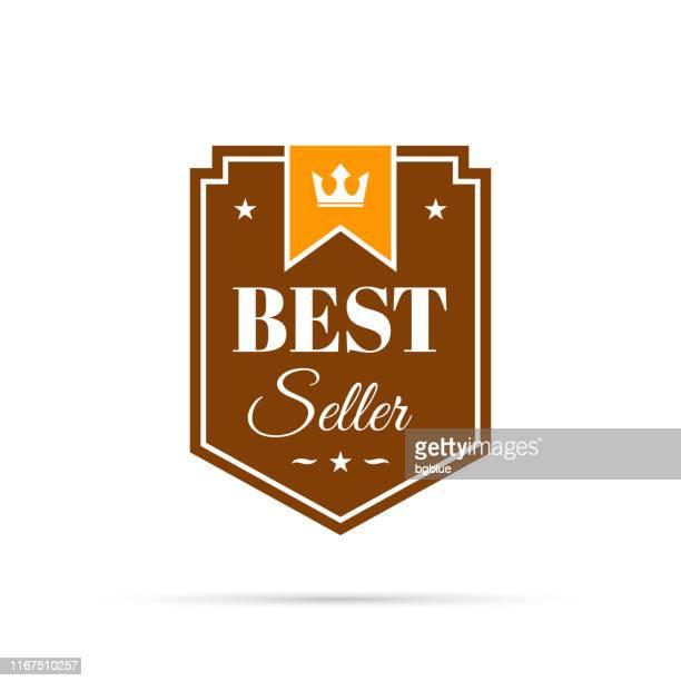 trendy orange badge - best seller - medallion stock illustrations, clip art, cartoons, & icons