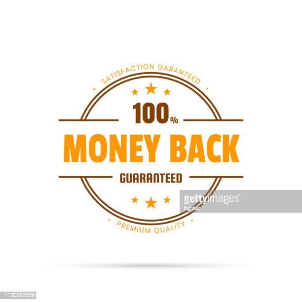 トレンディなオレンジ バッジ - お金の背部、100% 保証 - 数字の100点のイラスト素材/クリップアート素材/マンガ素材/アイコン素材