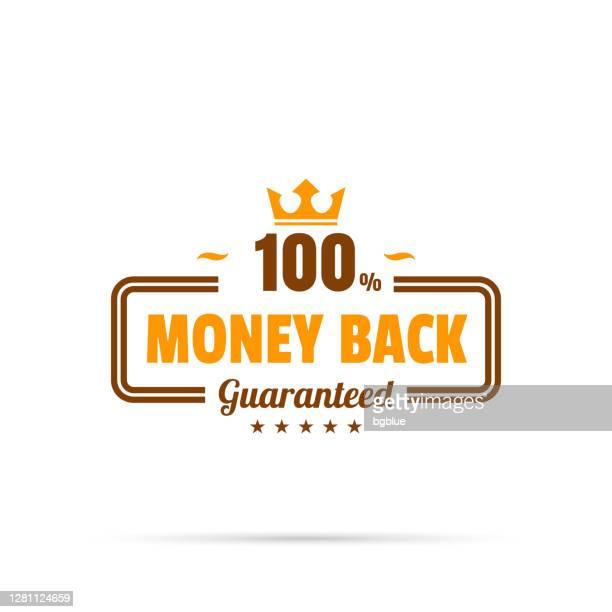 illustrazioni stock, clip art, cartoni animati e icone di tendenza di badge arancione alla moda - money back, garantito al 100% - affidabilità