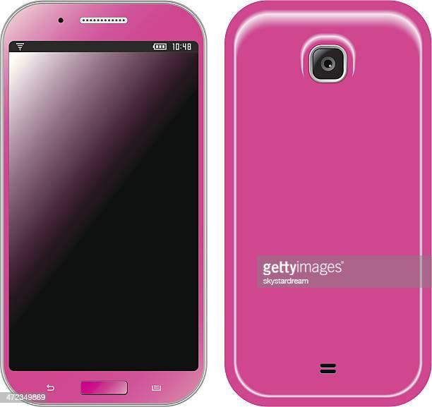 Trendy Pink Mobile Phone Front & Back Side