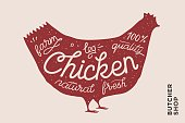 Trendy poster with red chicken silhouette