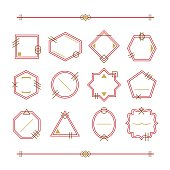 Trendy red and golden empty and blank geometrical line emblems set on white background
