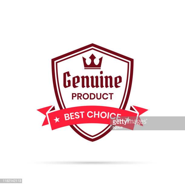 trendy red badge - genuine product, best choice - medallion stock illustrations