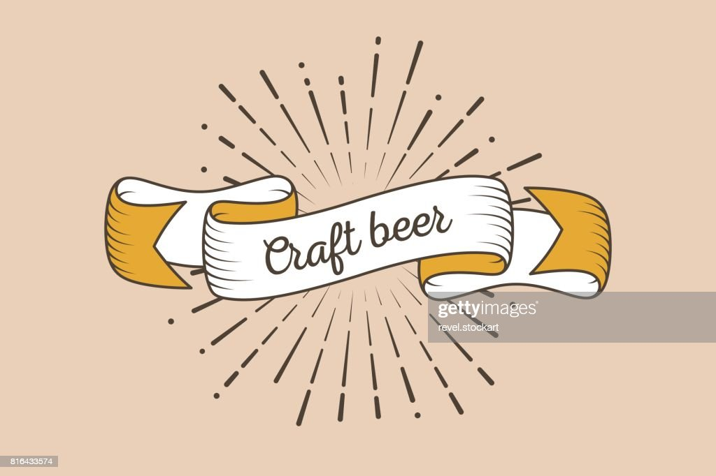 Trendy retro ribbon with text Craft beer and light rays, sunburs