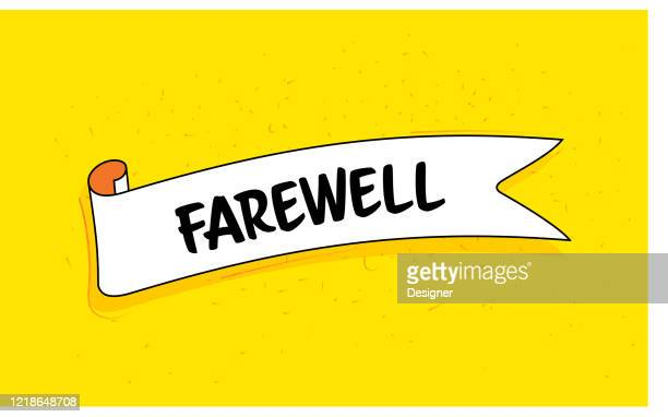 trendy ribbon banner with text farewell. retro style design. - leaving stock illustrations