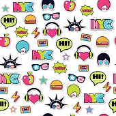trendy seamless american pattern with patches and stickers