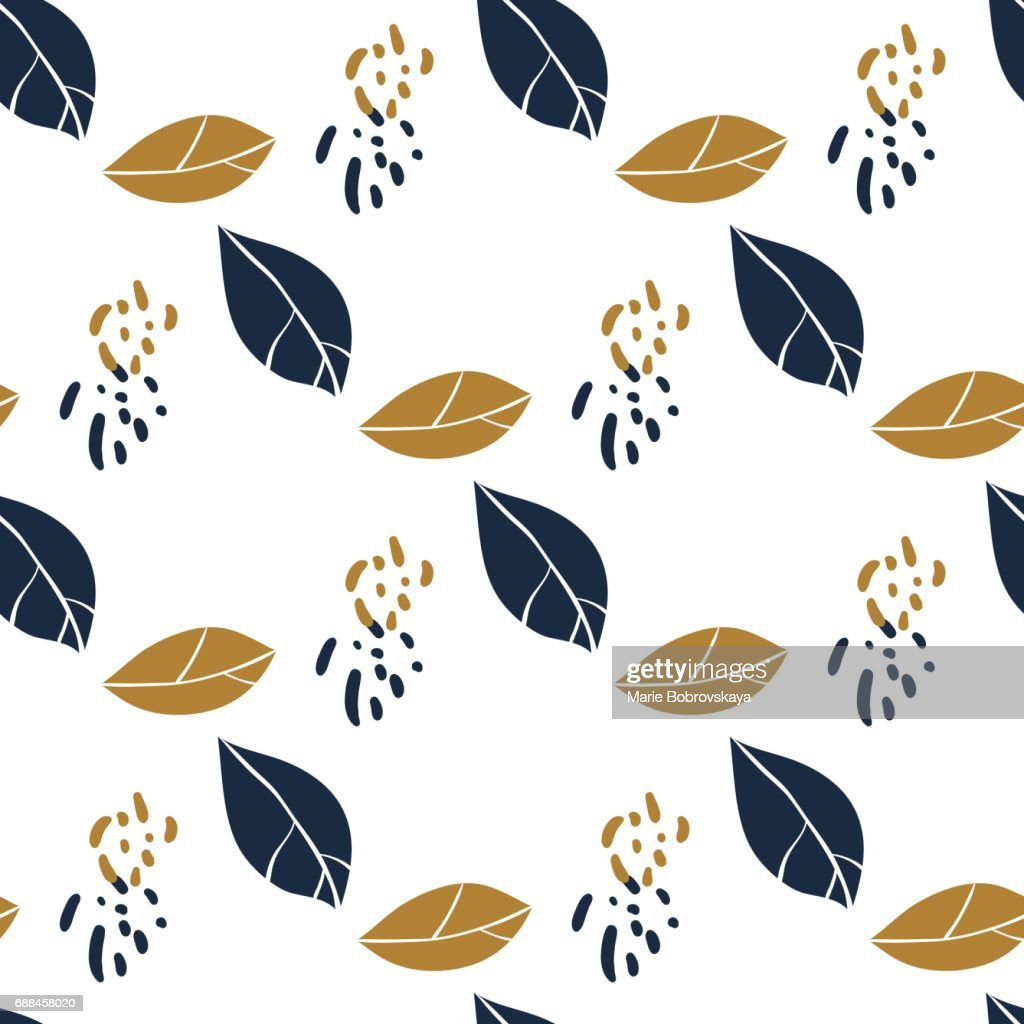 Trendy seamless botanical pattern with leaves and spots in deep blue and mustard colors. Vector hand drawn illustration for print,textile,wrapping paper.