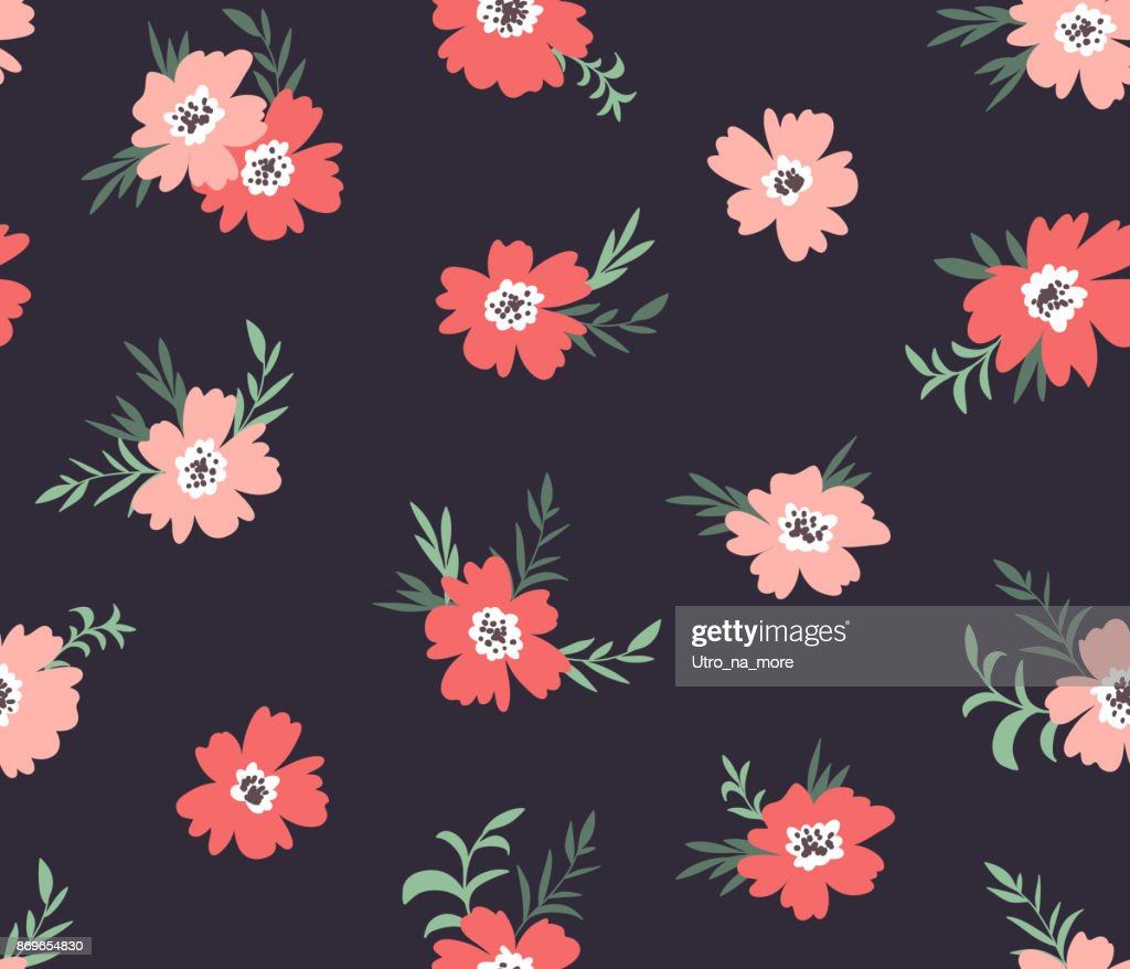 Trendy seamless floral ditsy pattern. Fabric design with simple flowers on the dark background. Vector garden pattern.