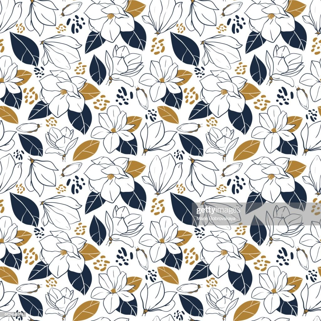 Trendy seamless floral pattern with magnolia flowers,buds and leaves in deep blue and mustard colors. Vector hand drawn illustration for print,textile,wrapping paper.