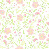 Trendy Seamless Floral Print. Cute little flowers. Vector illusteration.