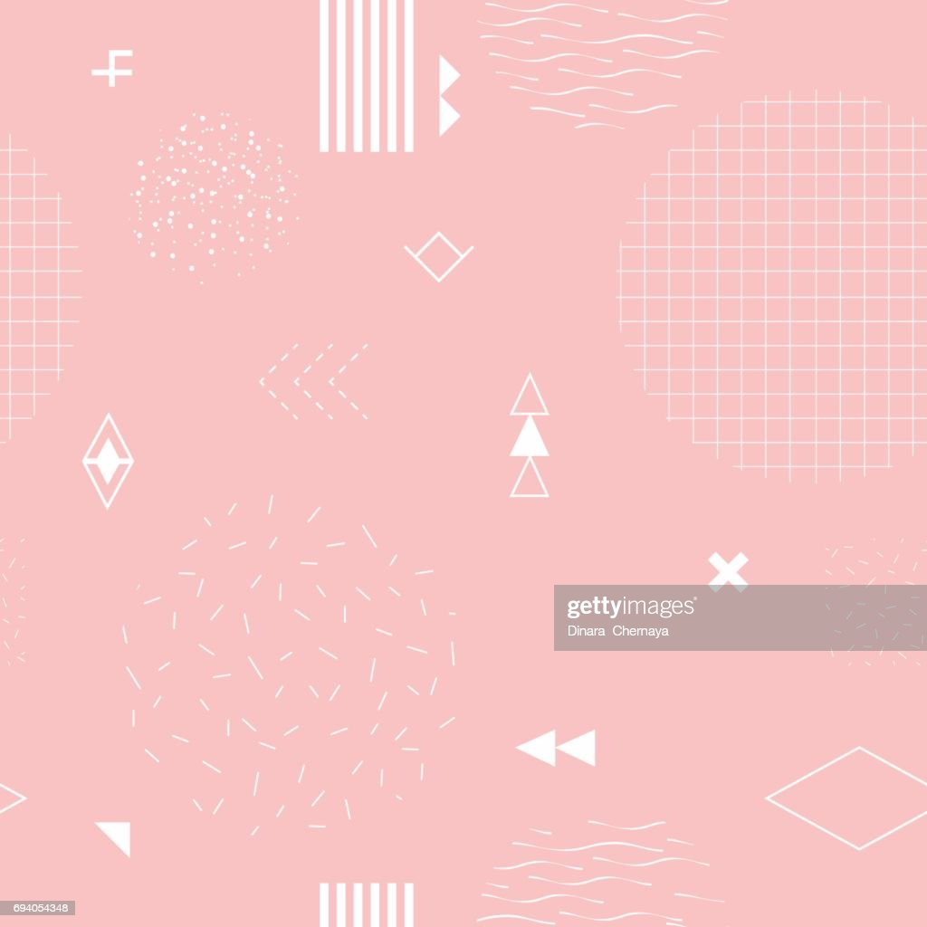 Trendy seamless pattern with geometric elements.