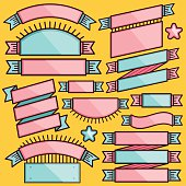 Trendy set of cartoon ribbons, badges and labels.