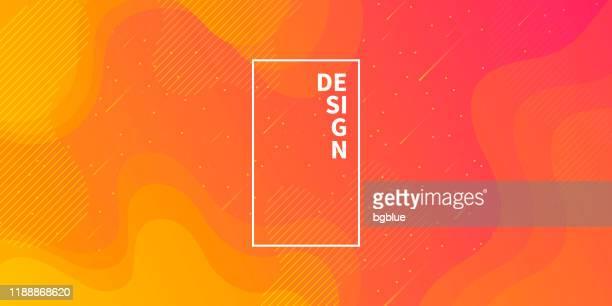 bildbanksillustrationer, clip art samt tecknat material och ikoner med trendig stjärnhimmel med flytande och geometriska former-orange gradient - färgad bakgrund