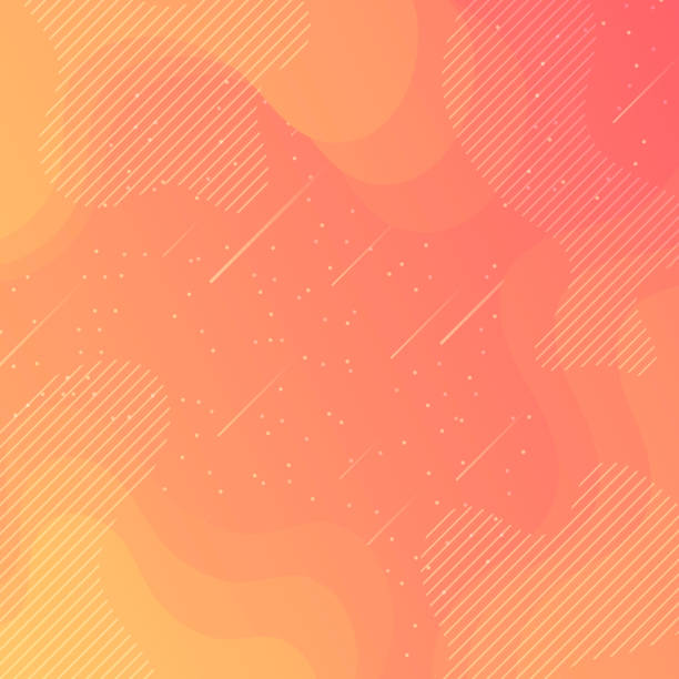 trendy starry sky with fluid and geometric shapes - orange gradient - cool attitude stock illustrations