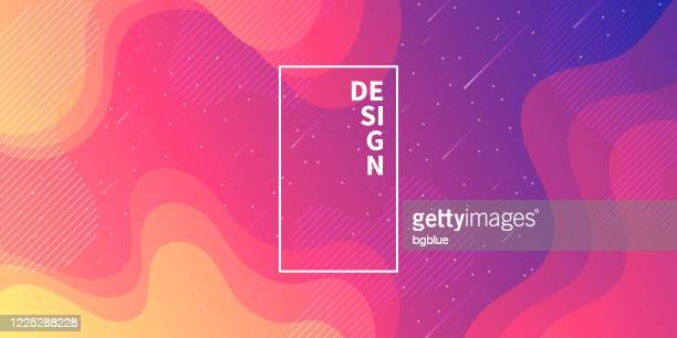 trendy starry sky with fluid and geometric shapes - pink gradient - meteor shower stock illustrations