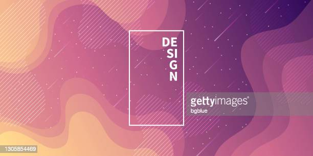 trendy starry sky with fluid and geometric shapes - purple gradient - meteor shower stock illustrations