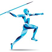 Trendy stylized illustration movement, javelin-throwing, line vector silhouette of