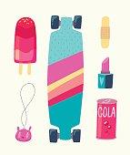 Trendy summer equipment. Vector cartoon illustration.