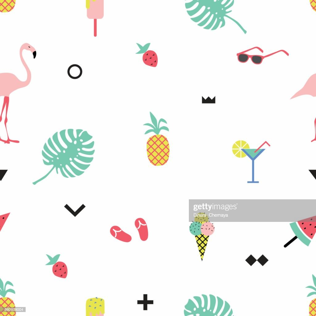 Trendy summer seamless pattern with  flamingos and geometric elements.